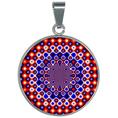Digital Art Background Red Blue 30mm Round Necklace
