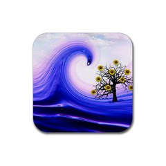 Composing Nature Background Graphic Rubber Square Coaster (4 Pack)