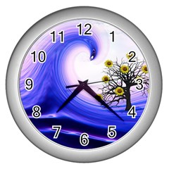 Composing Nature Background Graphic Wall Clock (silver) by Sapixe