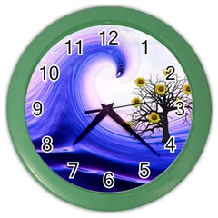Composing Nature Background Graphic Color Wall Clock by Sapixe