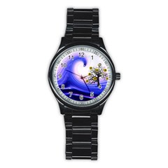 Composing Nature Background Graphic Stainless Steel Round Watch