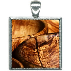 Olive Wood Wood Grain Structure Square Necklace