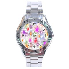Star Dab Farbkleckse Leaf Flower Stainless Steel Analogue Watch by Sapixe