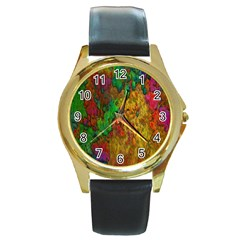 Background Color Template Abstract Round Gold Metal Watch by Sapixe