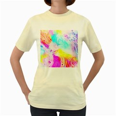 Background Drips Fluid Colorful Women s Yellow T-shirt by Sapixe