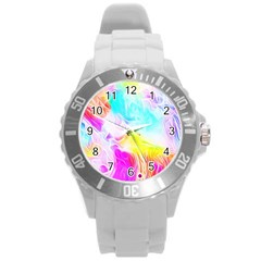 Background Drips Fluid Colorful Round Plastic Sport Watch (l)