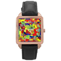 Abstract Art Structure Rose Gold Leather Watch