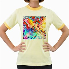 Background Drips Fluid Colorful Women s Fitted Ringer T-shirt by Sapixe