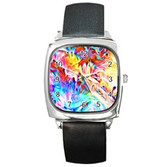 Background Drips Fluid Colorful Square Metal Watch
