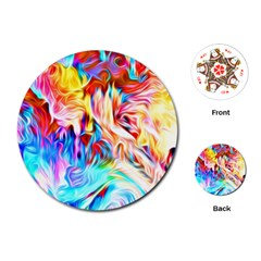 Background Drips Fluid Colorful Playing Cards (round) by Sapixe