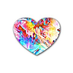 Background Drips Fluid Colorful Heart Coaster (4 Pack)