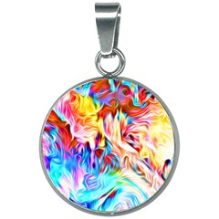 Background Drips Fluid Colorful 20mm Round Necklace