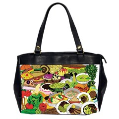 Eat Food Background Art Color Oversize Office Handbag (2 Sides)