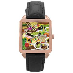 Eat Food Background Art Color Rose Gold Leather Watch