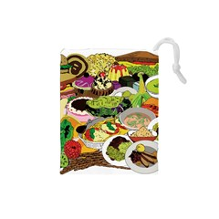 Eat Food Background Art Color Drawstring Pouch (small)
