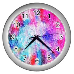 Background Art Abstract Watercolor Wall Clock (silver)