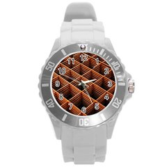 Metal Grid Framework Creates An Abstract Round Plastic Sport Watch (l)