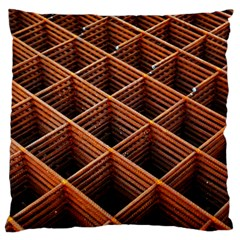 Metal Grid Framework Creates An Abstract Large Flano Cushion Case (one Side)