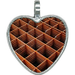 Metal Grid Framework Creates An Abstract Heart Necklace by Jojostore