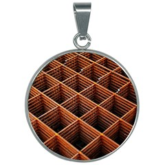 Metal Grid Framework Creates An Abstract 30mm Round Necklace