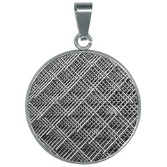 Grid Wire Mesh Stainless Rods Rods Raster 30mm Round Necklace