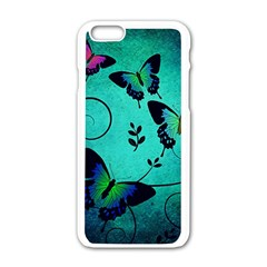 Texture Butterflies Background Apple Iphone 6/6s White Enamel Case by Jojostore