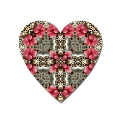 Flowers Fabric Heart Magnet by Jojostore