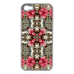 Flowers Fabric Apple Iphone 5 Case (silver)