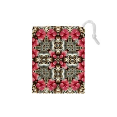 Flowers Fabric Drawstring Pouch (small)