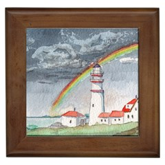 Watercolour Lighthouse Rainbow Framed Tiles by Jojostore