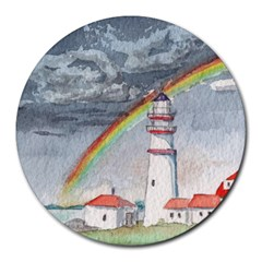 Watercolour Lighthouse Rainbow Round Mousepads by Jojostore