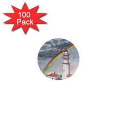 Watercolour Lighthouse Rainbow 1  Mini Buttons (100 Pack)  by Jojostore