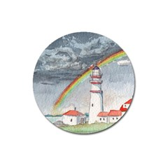Watercolour Lighthouse Rainbow Magnet 3  (round) by Jojostore