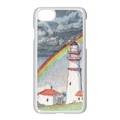 Watercolour Lighthouse Rainbow Apple Iphone 8 Seamless Case (white) by Jojostore