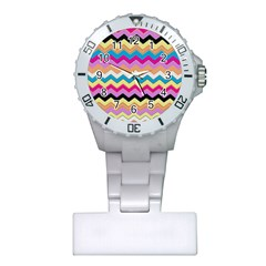 Chevrons Pattern Art Background Plastic Nurses Watch by Jojostore