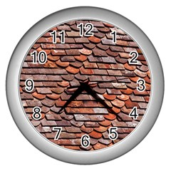 Roof Tiles On A Country House Wall Clock (silver) by Jojostore