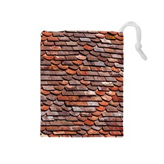 Roof Tiles On A Country House Drawstring Pouch (medium) by Jojostore