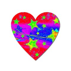 Red Background With A Stars Heart Magnet