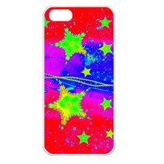 Red Background With A Stars Apple Iphone 5 Seamless Case (white)