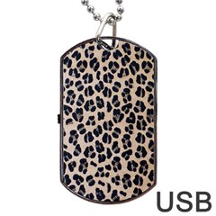 Background Pattern Leopard Dog Tag Usb Flash (two Sides)