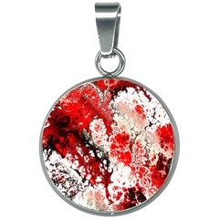 Red Fractal Art 20mm Round Necklace