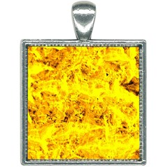 Yellow Abstract Background Square Necklace