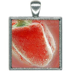 Red Pepper And Bubbles Square Necklace