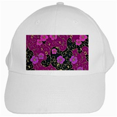 Floral Pattern Background White Cap by Jojostore
