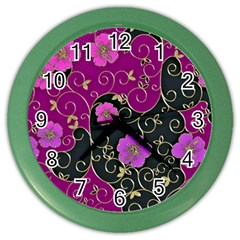 Floral Pattern Background Color Wall Clock by Jojostore