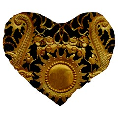 Golden Sun Large 19  Premium Heart Shape Cushions