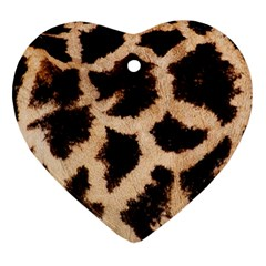 Yellow And Brown Spots On Giraffe Skin Texture Heart Ornament (two Sides)