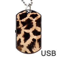 Yellow And Brown Spots On Giraffe Skin Texture Dog Tag Usb Flash (one Side) by Jojostore
