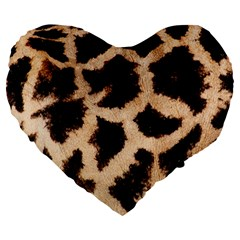 Yellow And Brown Spots On Giraffe Skin Texture Large 19  Premium Heart Shape Cushions by Jojostore
