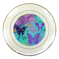 Butterfly Vector Background Porcelain Plates by Jojostore